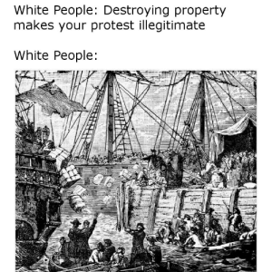 Blackpeopletwitter, Dank, and Memes: White People: Destroying property  makes your protest illegitimate  White People: What's good for the goose ain't shit. by ChipAyten FOLLOW 4 MORE MEMES.