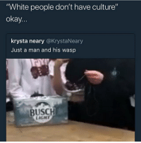 "Funny, Goals, and Love: White people don't have culture""  okay  krysta neary @KrystaNeary  Just a man and his wasp  BUSCH  LICN White ppl love seeing things not FREE 😞✊🏾 @larnite • ➫➫➫ Follow @Staggering for more funny posts daily! • (Ignore: memes like4like funny music love comedy goals fortnite)"