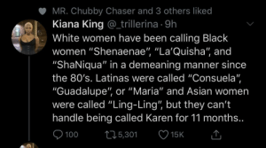 White people have to be the most socially tone-deaf people on the earth if they think Karen is a slur (via /r/BlackPeopleTwitter): White people have to be the most socially tone-deaf people on the earth if they think Karen is a slur (via /r/BlackPeopleTwitter)