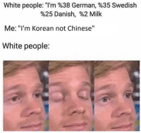 "ackchyually via /r/memes http://bit.ly/2Mg91CX: White people: ""I'm %38 German, %35 Swedish  %25 Danish, %2 Milk  Me: ""I'm Korean not Chinese""  White people: ackchyually via /r/memes http://bit.ly/2Mg91CX"