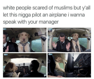 White People, Airplane, and White: white people scared of muslims but y'all  let this nigga pilot an airplane i wanna  speak with your manager  57下 Alternative fears