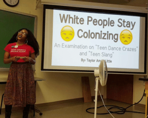 "brown: White People Stay  Colonizing  An Examination on ""Teen Dance Crazes""  and ""Teen Slang""  MAKE AMERICA  BROWN AGAIN  By: Taylor AmLittle"