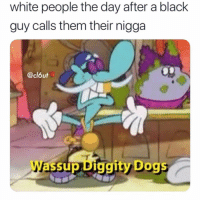 Advice, Dogs, and Meme: white people the day after a black  guy calls them their nigga  @clóut  Wassup Diggity Dogs @advice was voted the best meme page of 2018😂
