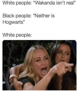 """White People, Black, and White: White people: """"Wakanda isn't real""""  2  Black people: """"Neither is  Hogwarts""""  1  White people:"""