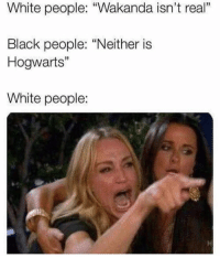"""White People, Black, and White: White people: """"Wakanda isn't real""""  3  Black people: """"Neither is  Hogwarts""""  1  White people:"""