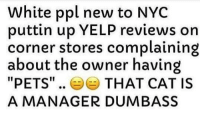 "Pets, Fuck, and White: White ppl new to NYC  puttin up YELP reviews on  corner stores complaining  about the owner having  ""PETS"".. 부부 THAT CAT IS  A MANAGER DUMBASS @newyorknico Fuck outttaaa here"