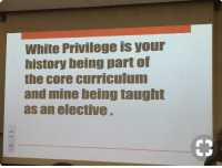 White Privilege: White Privilege is your  history being part of  the core curriculum  and mine being taught  as an elective