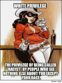 Memes, 🤖, and Bruce Timm: WHITE PRIVILEGE  THE PRIVILEGE OFBEINGCALLED  RACIST BY PEOPLE WHOSEE  NOTHING ELSEABOUT YOU CEPT  Bruce Timm !!!!