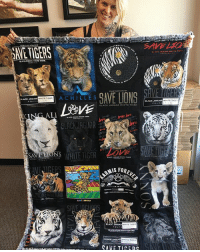Wow. This is one of the MOST MEANINGFUL birthday presents I have ever received. My Auntie Lois has been such a huge supporter of the foundation for over 2.5 years, constantly buying several of each t-shirt and sweatshirt to spread the love to her friends and family, and she kept one extra of each to sew each design into this BEAUTIFUL Quilt! I am at a loss for words with how special this is, knowing each and every one of these designs have helped raise money for the precious rescued angels of the @blackjaguarwhitetiger Foundation. Thank you Auntie Lois for all your love, support, volunteer time, donations and always encouraging me to follow my dreams and work for what I believe in. blackjaguarwhitetiger BestBirthday itsallforlove savelions SaveTigers DonateToday: -WHITE TIOE  ACHILLES  ACK JAGUAR  IGER  WHITE TK  ALI 1M29V6 ACK AGI ARV.HTET  BLACK JAGUAR WHITE TIGER  BLACK AGUAR  FOREV  ARMIS FO  AVE TICED Wow. This is one of the MOST MEANINGFUL birthday presents I have ever received. My Auntie Lois has been such a huge supporter of the foundation for over 2.5 years, constantly buying several of each t-shirt and sweatshirt to spread the love to her friends and family, and she kept one extra of each to sew each design into this BEAUTIFUL Quilt! I am at a loss for words with how special this is, knowing each and every one of these designs have helped raise money for the precious rescued angels of the @blackjaguarwhitetiger Foundation. Thank you Auntie Lois for all your love, support, volunteer time, donations and always encouraging me to follow my dreams and work for what I believe in. blackjaguarwhitetiger BestBirthday itsallforlove savelions SaveTigers DonateToday