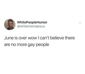 Restoration 100 by jquicks96792 MORE MEMES: WhitePeopleHumor  @whitememejesus  June is over wow I can't believe there  are no more gay people Restoration 100 by jquicks96792 MORE MEMES