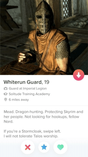 Uuuhhhh best tinder profile ever!: Whiterun Guard, 19  I Guard at Imperial Legion  Solitude Training Academy  6 miles away  Mead. Dragon-hunting. Protecting Skyrim and  her people. Not looking for hookups, fellow  Nord.  If you're a Stormcloak, swipe left.  l will not tolerate Talos worship. Uuuhhhh best tinder profile ever!
