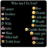 :) V: Who Am I To You?  Boo  Sister  Homie  brother  Little me  Bae  World  Wife  Sunshine  babe  Cuddle Buddy  Cutie pie  Main  Other half  Bestie  Teddy bear  Crush :) V