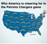 America, Nfl, and Patriotic: Who America is cheering for in  the Patriots Chargers game Ain't nobody cheering for the Pats.