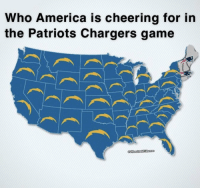 America, Patriotic, and Chargers: Who America is cheering for in  the Patriots Chargers game Ain't nobody cheering for the Pats. https://t.co/uKJztQw8ES