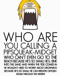 i love fma sm -: WHO ARE  YOU CALLING A  PIPSQUEAK-MIDGET  WHO CAN'T EVEN GO TO THE  BEACH BECAUSE HE'S SO SMALL HE'LL SINK  INTO THE SAND AND WHEN THE TIDE OOMES IN  HE WOULDN'T NEED TO WORRY ABOUT DROWNING  BECAUSE HE'S SO SMALL HE CAN BREATHE OXYGEN i love fma sm -