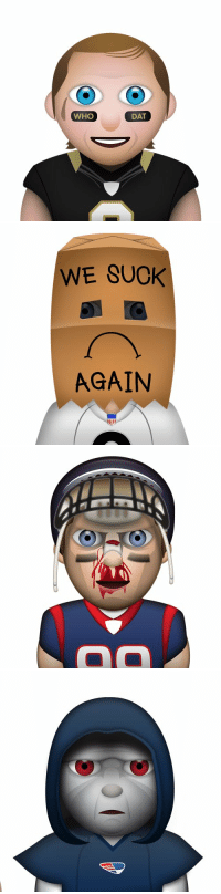 Emoji, Funny, and Nfl: WHO  DAT   WE SUCK  AGAIN   OD 38 funny NFL emojis: (via @Sportsmanias)