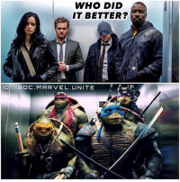 Wrong Elevator ? 😂 THIS IS THE CROSSOVER WE DESERVE…BUT NOT THE ONE WE NEED ! 😤 Imagine a NinjaTurtles - Defenders CrossOver. 😂 MarvelCinematicUniverse 💥 TMNT MCU TeenageMutantNinjaTurtles TheDefenders: WHO DID  IT BETTER?  GLI ODC. MARVEL. UNITE Wrong Elevator ? 😂 THIS IS THE CROSSOVER WE DESERVE…BUT NOT THE ONE WE NEED ! 😤 Imagine a NinjaTurtles - Defenders CrossOver. 😂 MarvelCinematicUniverse 💥 TMNT MCU TeenageMutantNinjaTurtles TheDefenders