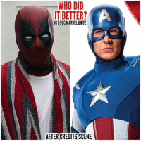 Memes, Deadpool, and Movie: WHO DID  IT BETTER?  IG ODC.MARVELUNITE  AFTER CREDITSSCENE Only people who waited and watched the Last After Credits Scene in SpiderManHomeComing will understand this. 😂 CaptainAmerica's Scene reminded me so much of The DeadPool After Credit Scene which was imitating the movie FerrisBuellersDayOff ! 🤷🏽‍♂️ The whole Audience was laughing when SteveRogers showed up even if it was disappointing ! 🇺🇸 MarvelCinematicUniverse 💥 SpiderMan