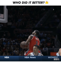 Memes, Nba, and News: WHO DID IT BETTER?  WA  NBA  NBA News  MIDWEST  CEDITS 1 or 2? Double-Tap on who you got (SWIPE 👉) 360Layup JohnWall JRSmith