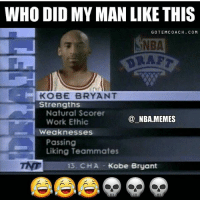 Tb to this😂💀: WHO DID MY MAN LIKE THIS  GOTEMCOACH. COM  NBA  KOBE BRYANT  Strengths  Natural Score  Work Ethic  @ NBA.MEMES  weaknesses  Passing  Liking Teammates  13. CHA Kobe Bryant Tb to this😂💀