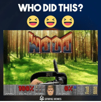 WHO DID THIS?  400  S31  ARMOR  N GAMING MEMES  4DD  10D  10D  50D WOOD>DOOM