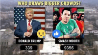 There can only be one All Star.: WHO DRAWS BIGGER CROWDS?  DONALD TRUMP  SMASH MOUTH  339  9356 There can only be one All Star.
