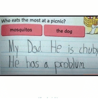 😹😹lol: Who eats the most at a picnic?  mosquitos  the dog  My Dod He is chub  He has a roblum  LHe hosproblum  UM 😹😹lol