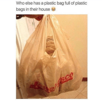 Memes, House, and A Plastic Bag: Who else has a plastic bag full of plastic  bags in their house Me for sure 😂