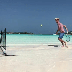 Game, Ocean, and Tennis: Who else is up for a game of ocean tennis? 😱🎾