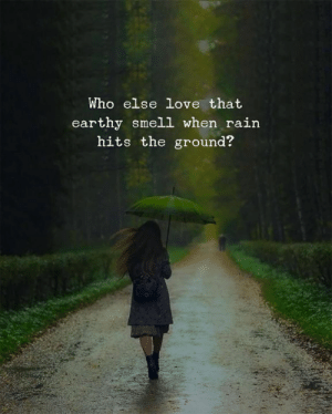 Love, Smell, and Rain: Who else love that  earthy smell when rain  hits the ground?