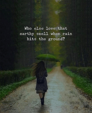 Hits The: Who else love that  earthy smell when rain  hits the ground?