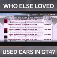 Memes, 🤖, and Corolla: WHO ELSE LOVED  NTs san SKYLINE  GT-R 561,636 14 DEC  Used Cars  ow on sale e historic cars of your dreams at  Bargain pri  Nissan Fairlady  z 3OOZX CZ310 B3  Cr.11, 199  Toyota  COROLLA LEVIN GT APEOK B3  Cr 5.375  Toyota  SPRINTER TRUENO  GAPEX 83  Cr 5,375  Type  Cr.e, 7122  Nissan SKYLINE HT 2DOO RS Turbo CB4  USED CARS IN GT4? This was such an awesome feature! - - granturismo gaming gt4 playstation xbox carmemes carsofinstagram carswithoutlimits retrogaming