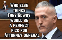 Memes, 🤖, and Trey Gowdy: WHO ELSE  THINKS  TREY GOWDY  WOULD BE  A PERFECT  PICK FOR  THE RE  AND YOU  ATTORNEY GENERAL 👍🏼🇺🇸