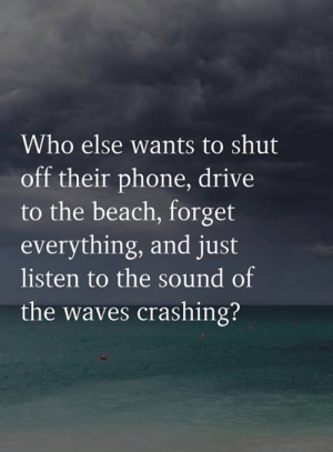 Waves: Who else wants to shut  off their phone, drive  to the beach, forget  everything, and just  listen to the sound of  the waves crashing?
