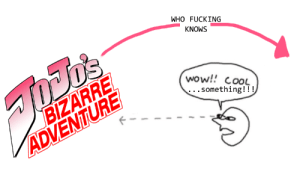 heir-of-puns:  dukeofriven:  My understanding of the themes and narrative arc of Jojo based off years of observation of Tumblr posts.  You pretty much nailed it, that's just what it's like.  : WHO FUCKING  KNOWS  D'S  BIZARRE  ADVENTURE  wow!! COOL  .. something!!! heir-of-puns:  dukeofriven:  My understanding of the themes and narrative arc of Jojo based off years of observation of Tumblr posts.  You pretty much nailed it, that's just what it's like.
