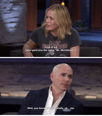 """who gave you the name """"Mr. Worldwide""""?   Well, you know, coincidentally, uh... me."""