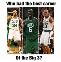 Celtic, Memes, and Best: Who had the best career  CELTIC  34  CELICS  5  0  Of the Big 3? Who had the best career of the original superteam? Comment below👇 (via @throwbacksportz)