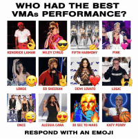 who was your fave? 👀 VMAs: WHO HAD THE BEST  VMAs PERFORMANCE?  KENDRICK LAMAR  MILEY CYRUS  FIFTH HARMONY  PINK  -800-273-as  VERYBODY  LORDE  ED SHEERAN  DEMI LOVATO  LOGIC  IA  フ「  DNCE  ALESSIA CARA  30 SEC TO MARS  KATY PERRY  RESPOND WITH AN EMOJI who was your fave? 👀 VMAs
