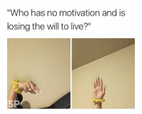 """Me 😭: """"Who has no motivation and is  losing the will to live?"""" Me 😭"""