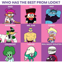 Who do you think is best dressed? 👑✨ Watch the Plaza's big night unfold TONIGHT at 6:30! okkoletsbeheroes: WHO HAS THE BEST PROM LOOK  ENID  KO  RAD  RAYMOND  MR. GAR  CAROL  COLEWORT  GREGG  REAL MAGIC SKELETON Who do you think is best dressed? 👑✨ Watch the Plaza's big night unfold TONIGHT at 6:30! okkoletsbeheroes