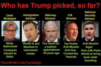 Who has Trump picked, so far?  National  CIA  Immigration Attorney  Security  Chief  Strategist  Advisor  General  Director  Advisor  White  Wants to put Too racist for  Tea Partier Anti-Muslim  Nationalist  Muslims in  a judicial Anti-Muslim  bigot  Compares  internment  appointment  Anti-Gay  Pals with Putin  camps 30 years ago  Conspiracy wants to bring  himself to  Satan  Theorist  back water  boarding  Jacebook.com/1533days