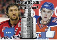 Discussion topic: At this moment, which team is more likely to win the Stanley Cup? LIKE for Edmonton Oilers or COMMENT for Washington Capitals: Who hasthC better  chancetowin? Discussion topic: At this moment, which team is more likely to win the Stanley Cup? LIKE for Edmonton Oilers or COMMENT for Washington Capitals