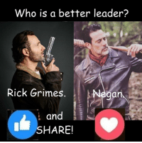 #TheWalkingDead fans, please actually VOTE today! :) (y)  Photo credit: Elliot Van Orman Productions: Who is a better leader?  Rick Grimes  egan  and  SHARE! #TheWalkingDead fans, please actually VOTE today! :) (y)  Photo credit: Elliot Van Orman Productions