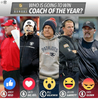 Vote using the Facebook reactions and discuss below! 👇: WHO IS GOING TO WIN  HUN URS  COACH OF THE YEAR?  BILL  ANDY  JACK  JASON  GARRETT  DEL RIO  REID  BELICHICK  DAN  QUINN Vote using the Facebook reactions and discuss below! 👇