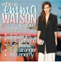 Emma Watson, Gryffindor, and Memes: who is  IS  AVE  to you  LIKE MY LAST POST AND  USE THE LAST DIGIT  1-2, mom  itfriend  5-6:fnend  7-8: stranger  9-0: enemy Like my recent post and see the last digit to find out who Emma Watson is to you! 😍 Comment down below! ✨ harrypotter thechosenone theboywholived hermionegranger ronweasley gryffindor bestfriends thegoldentrio dracomalfoy theboywhohadnochoice slytherin hogwarts ministryofmagic jkrowling harrypotterfilm harrypottercasts potterheads potterheadforlife harrypotterfact harrypotterfacts hpfact hpfacts thehpfacts danielradcliffe emmawatson rupertgrint tomfelton
