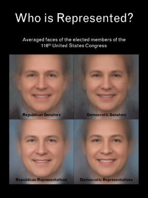 siderealsandman: datarep: Averaged Faces of Members of the 116th United States Congress It's him, Gerry Mandering : Who is Represented?  Averaged faces of the elected members of the  116th United States Congress  Democratic Senators  Republican Senators  Republican Represe ntatives  Democratic Representatives siderealsandman: datarep: Averaged Faces of Members of the 116th United States Congress It's him, Gerry Mandering