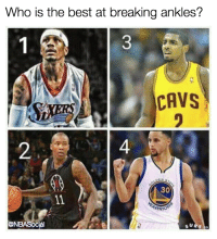 🤔: Who is the best at breaking ankles?  1 A  CAVS  30  @NBASocial  F.co 🤔
