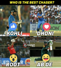 Memes, 🤖, and Roots: WHO IS THE BEST CHASER?  ANKOHLI  DHONI  Cricket  S Shots  ILE  ROOT  ABIDE Vote for the best chaser