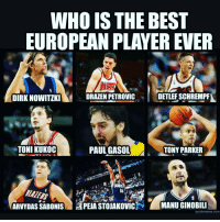 🏀I'd go with Dirk 🤔 DOUBLE TAP & TAG a friend.🏀 nba nba2k17 nbaplayoffs nbamemes ➡Everyone ADD us on Snapchat 👻 - ballershype ➡TURN ON POST NOTIFICATIONS ➡Follow my other account @ballershype for NBA news, rumours, videos! ➡LIKE us on Facebook (Link in bio!): WHO IS THE BEST  EUROPEAN PLAYER EVER  DIRK NOWITIKI  ORAZEN PETROVIC  DETLEFSCHREMPA  TONI KUKOC  PAUL GASOL  TONY PARKER  ARVYDASSABONIS APEA STOUAKovicN MANUGINOBILI  quick meme corn 🏀I'd go with Dirk 🤔 DOUBLE TAP & TAG a friend.🏀 nba nba2k17 nbaplayoffs nbamemes ➡Everyone ADD us on Snapchat 👻 - ballershype ➡TURN ON POST NOTIFICATIONS ➡Follow my other account @ballershype for NBA news, rumours, videos! ➡LIKE us on Facebook (Link in bio!)