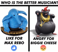 biggie cheese ❤️: WHO IS THE BETTER MUSICIAN?  LIKE FOR  ANGRY FOR  MAX REBO BIGGIE CHEESE biggie cheese ❤️